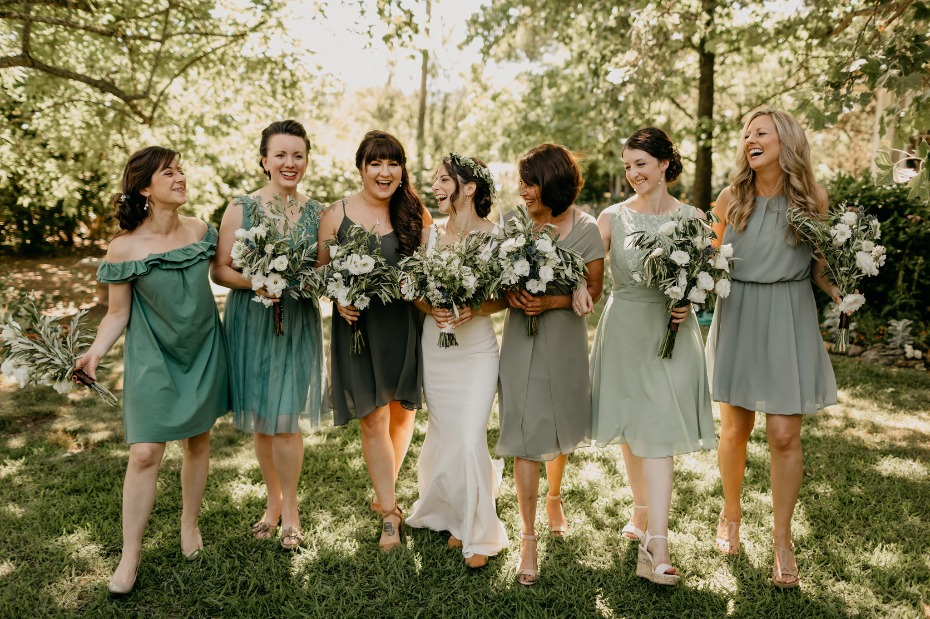 Sage green mismatched bridesmaid dresses