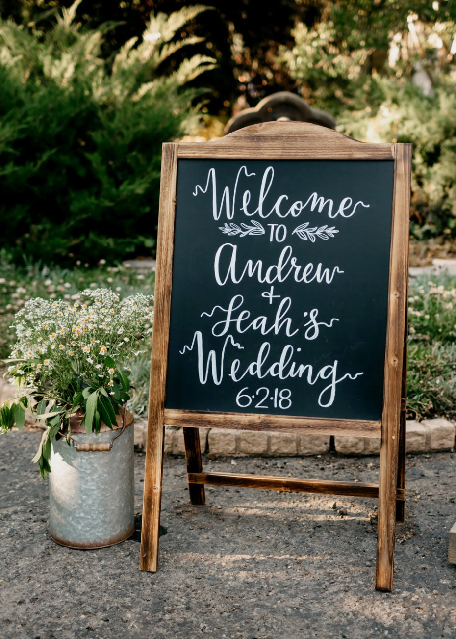 Chalkboard welcome wedding sign
