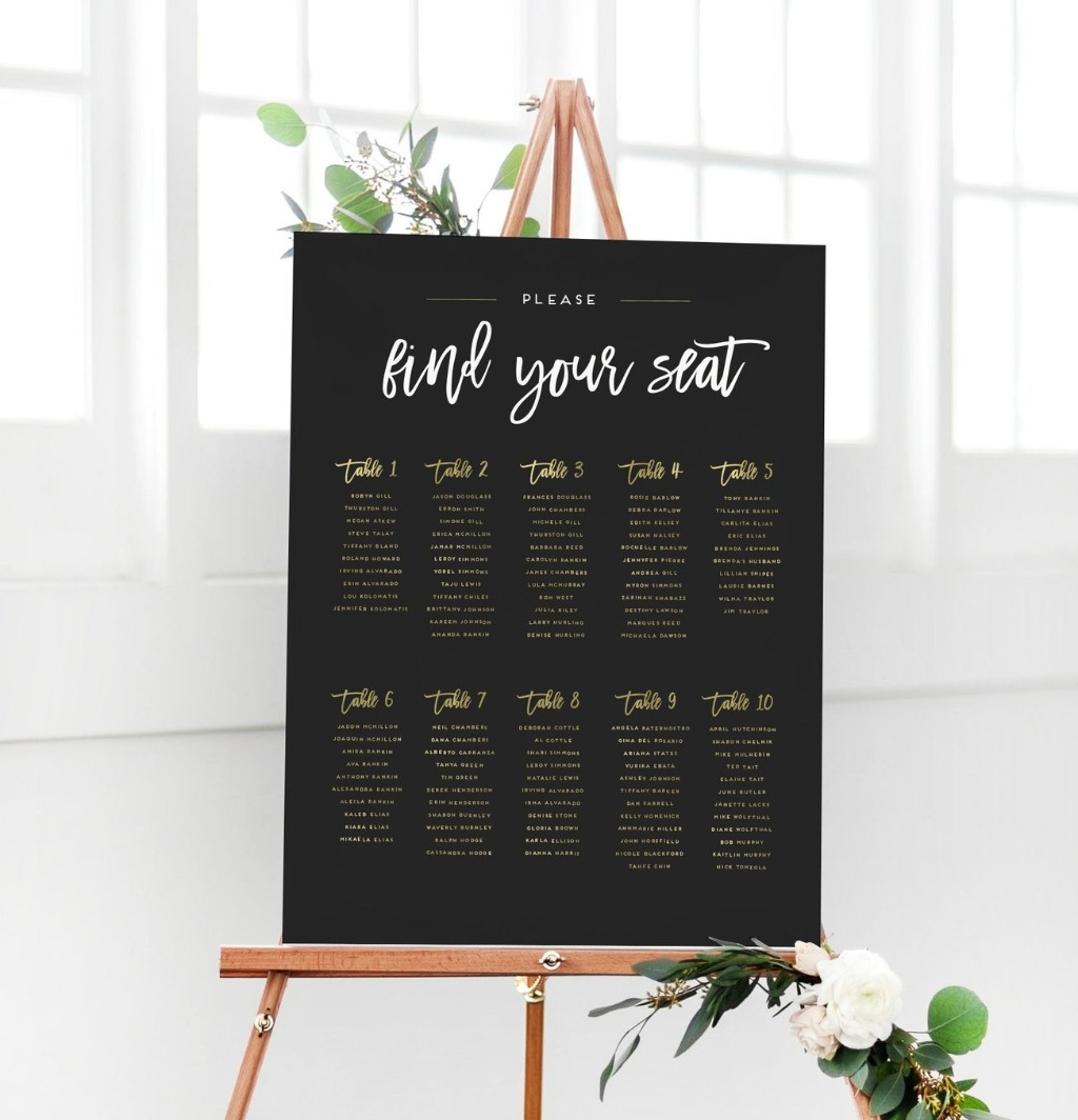 At Miss Design Berry, we're BIG believers in seating charts!! This Wedding Seating Chart Sign, in particular, lists out all your guests