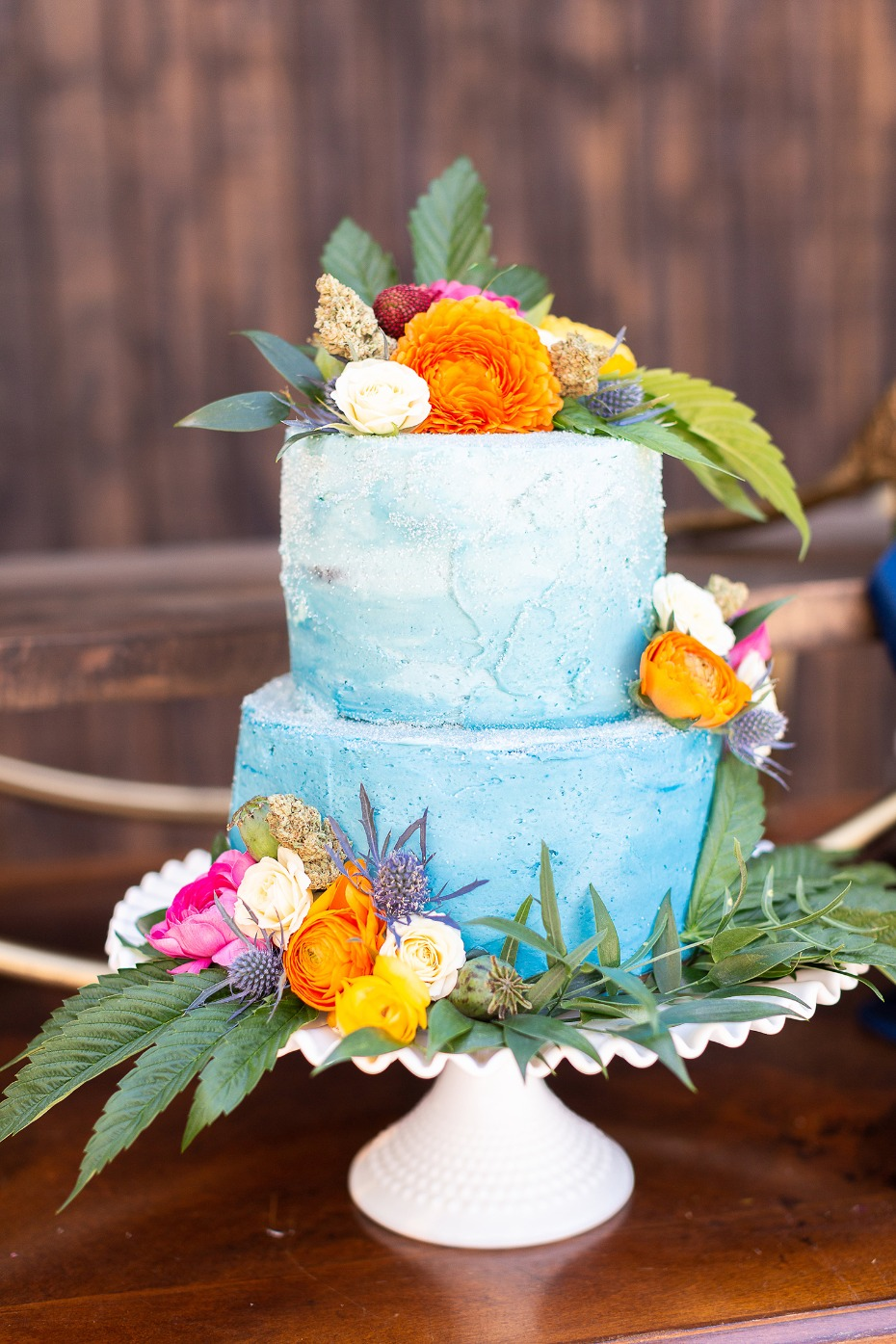 Blue ombre canna infused wedding cake