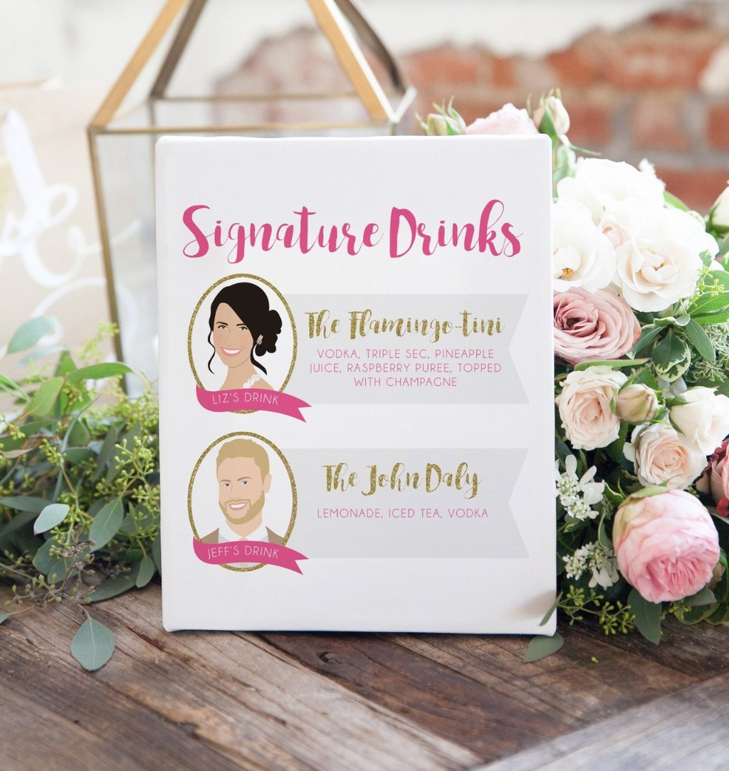 Signature Drink Signs are super on trend right now, so why not pick one up with your portraits on it?? This one from Miss Design Berry