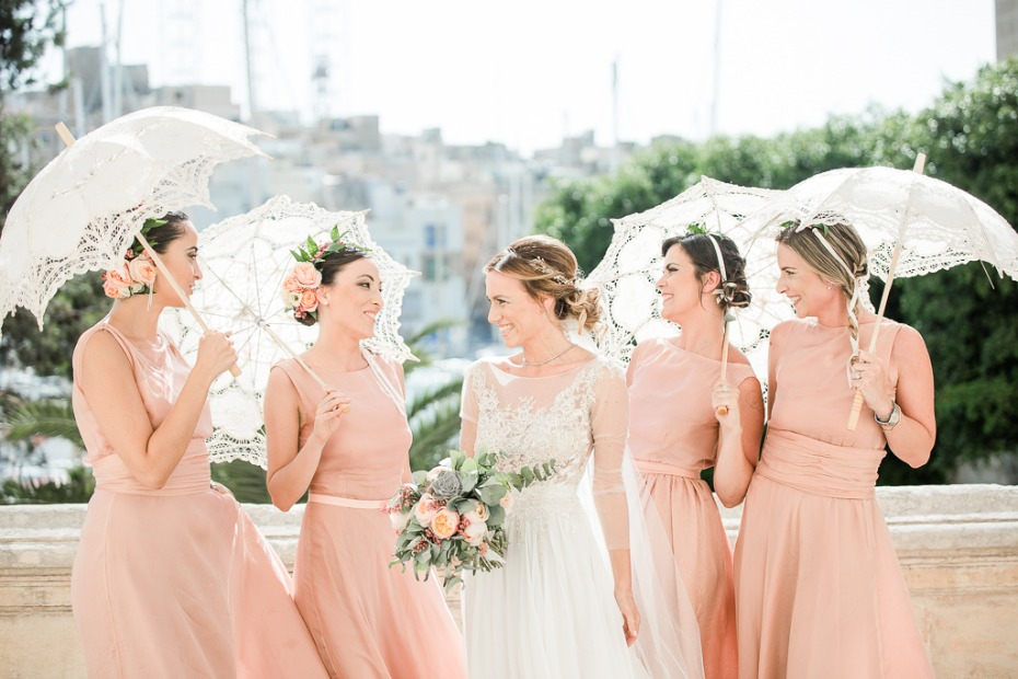 Lace umbrellas for bridesmaids