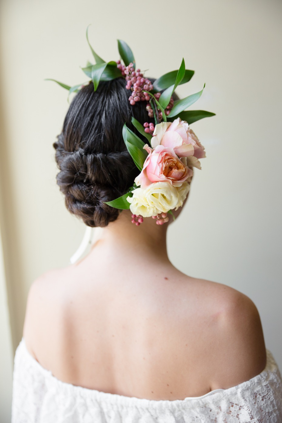 Bridesmaids hair with florals