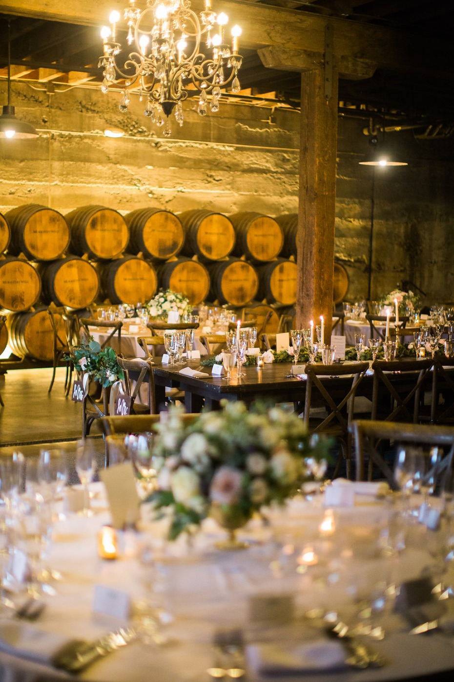 Romantic winery reception