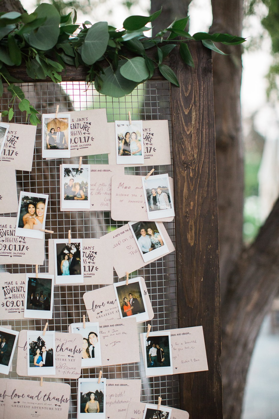 Polaroid guest book with notes
