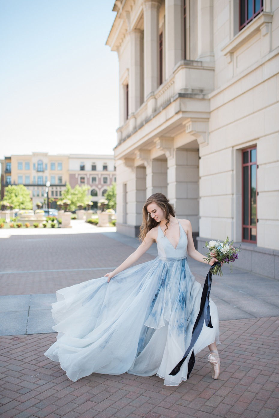watercolor dress for your formal engagement shoot