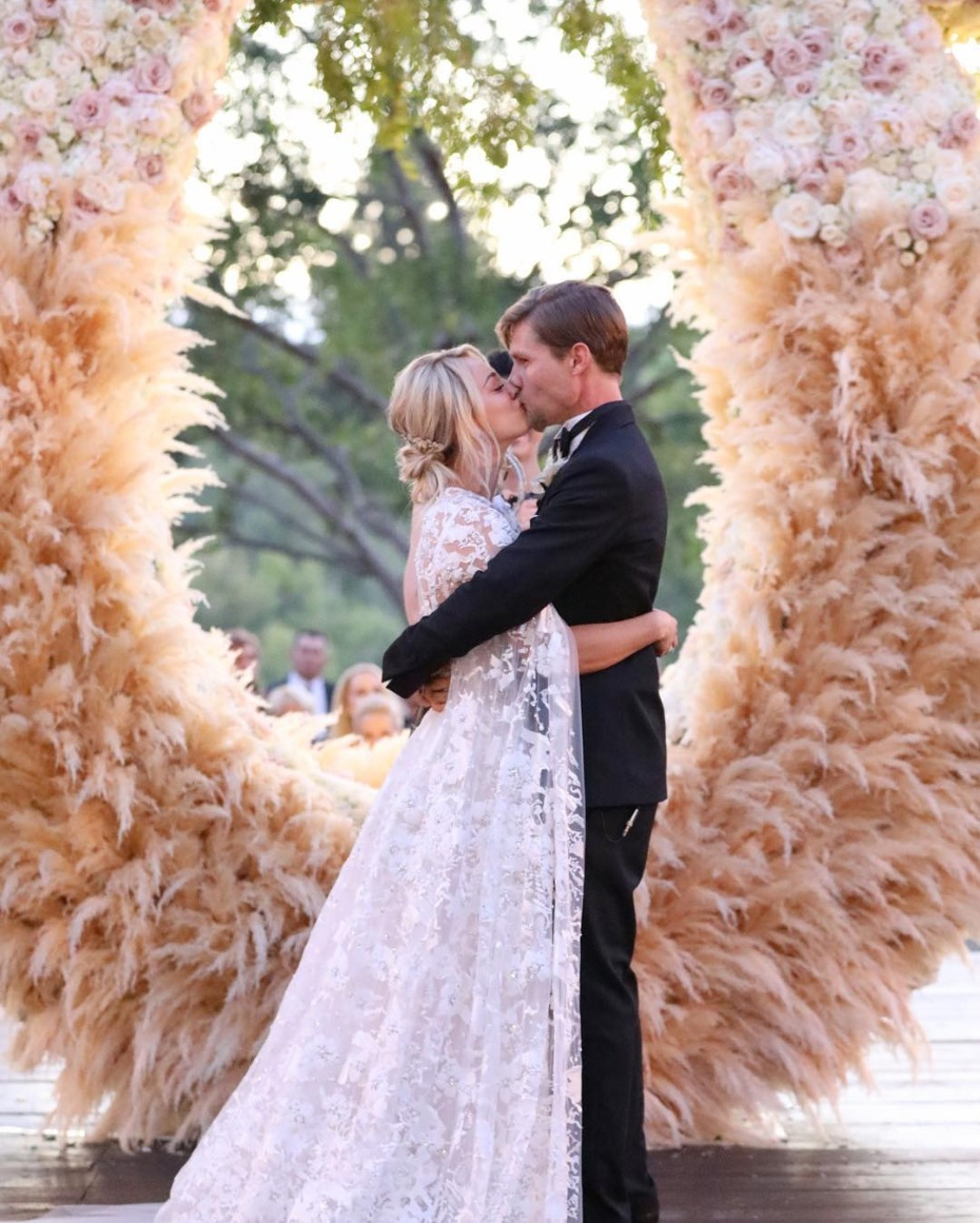 Kaley Cuoco Marries Karl Cook in Caped Reem Acra Gown