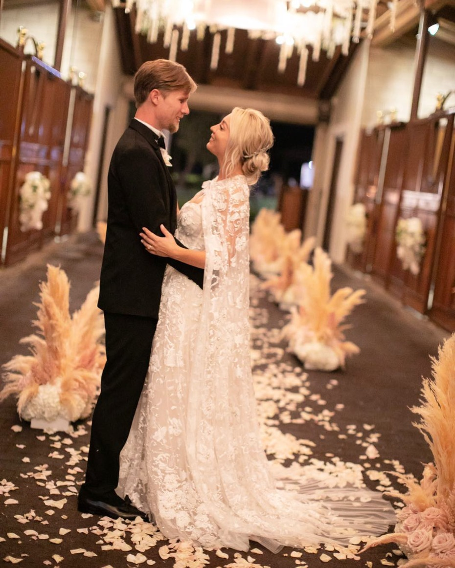 Kaley Cuoco Marries Karl Cook Wearing Reem Acra Lace Gown with Cape