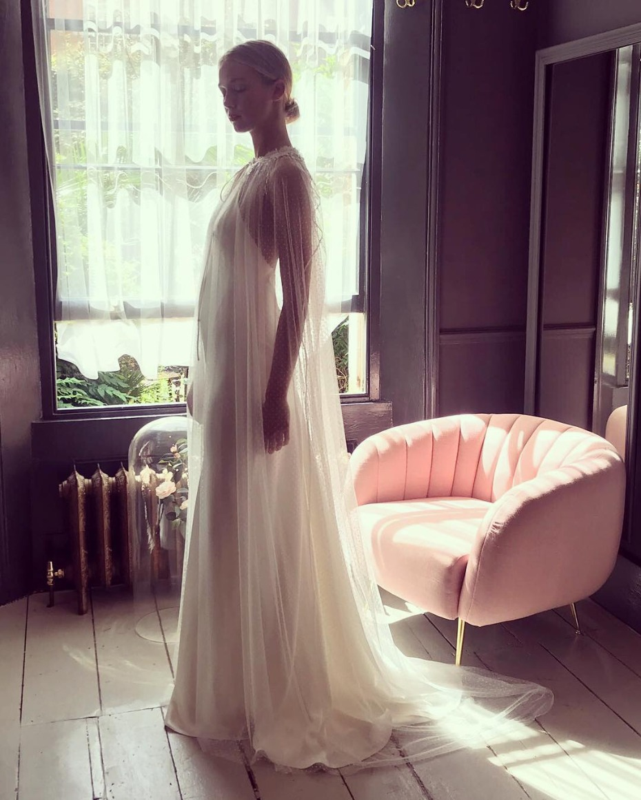 Get the look Kaley Cuoco's caped wedding gown with Half Penny London