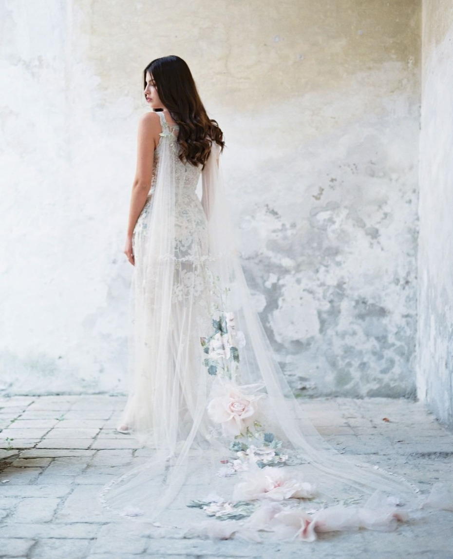 Get the look Kaley Cuoco caped wedding dress by Claire Pettibone