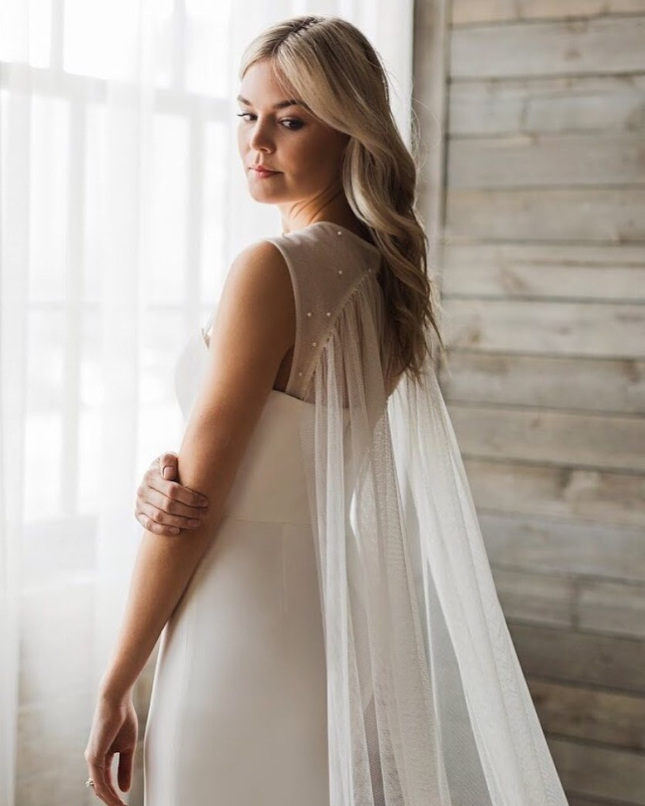 Get the Caped Kaley Cuoco Wedding Dress look from Tara LaTour