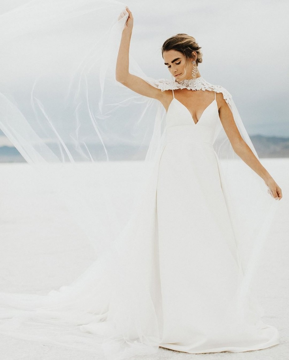 Get the look Kaley Cuoco's caped wedding gown with BHLDN Vincent Cape