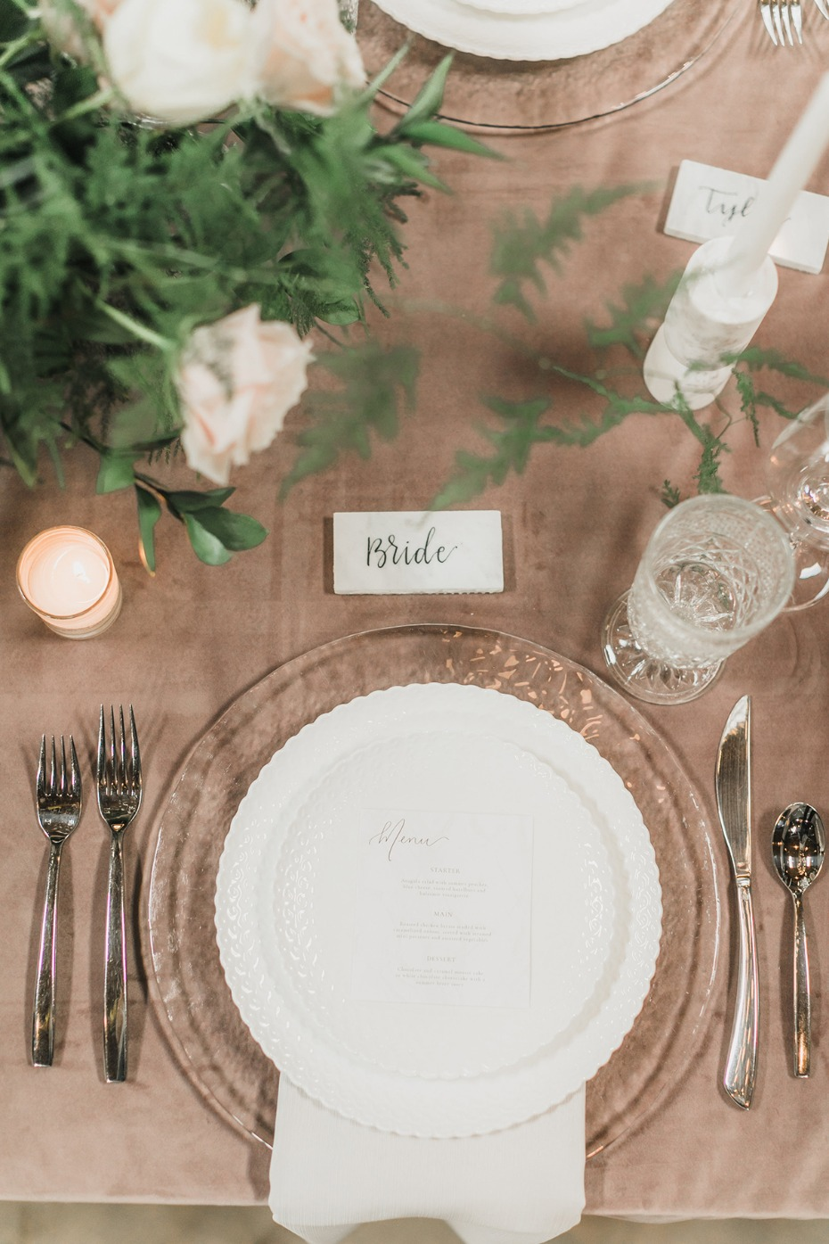 dusty pink modern table setting