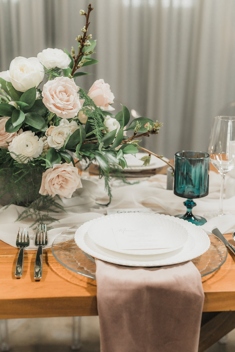 modern and rustic themed spring table decor