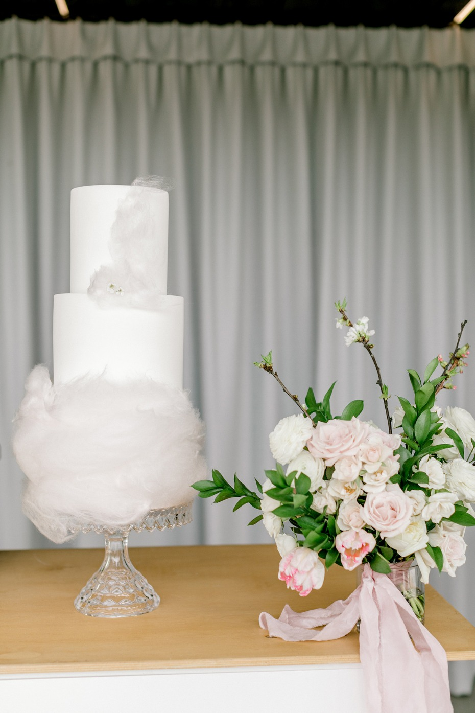 cotton candy accented wedding cake