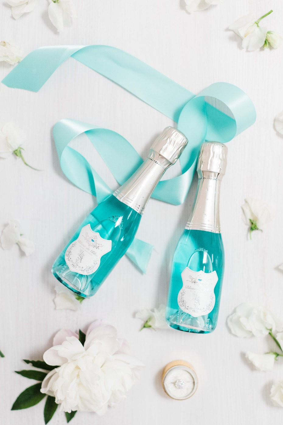 Blanc de Bleu Breakfast at Tiffany's Bridal Shower Mini Bottle Favors