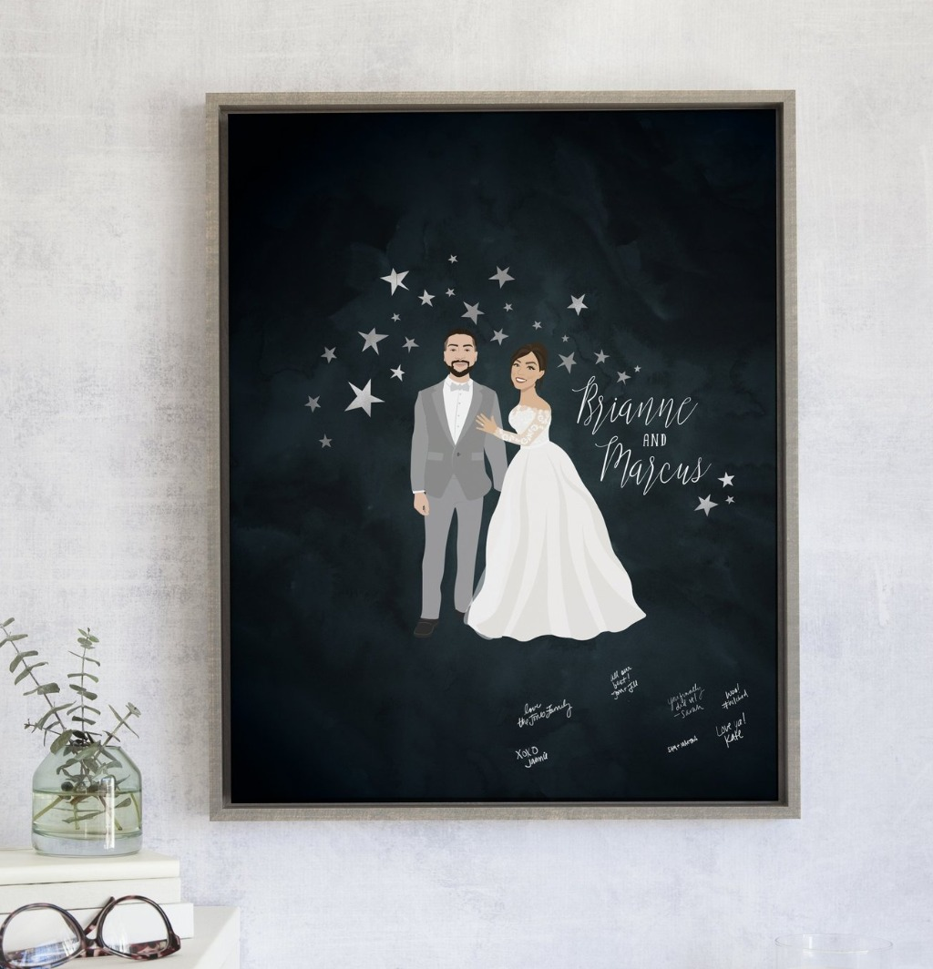 If you're looking for a unique guest book for your big day, this Starry Night Guest Book Alternative with your Couple Portrait from