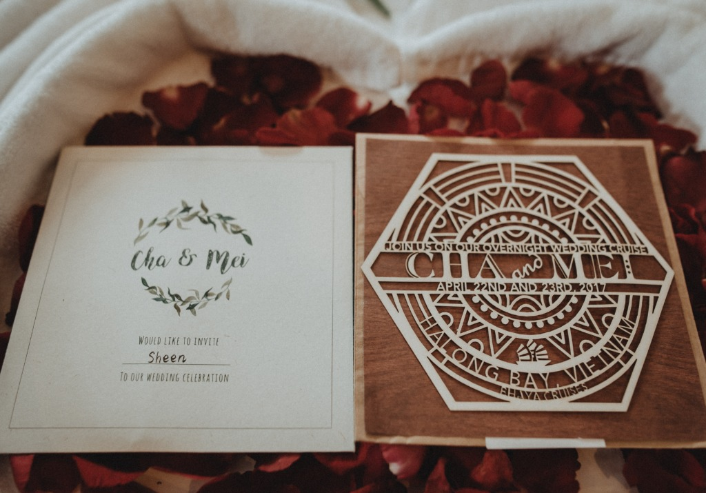 A vintage and rustic laser cut invitation for our cruise wedding in Ha Long Bay - the UNESCO's World Heritage Site and a land of love