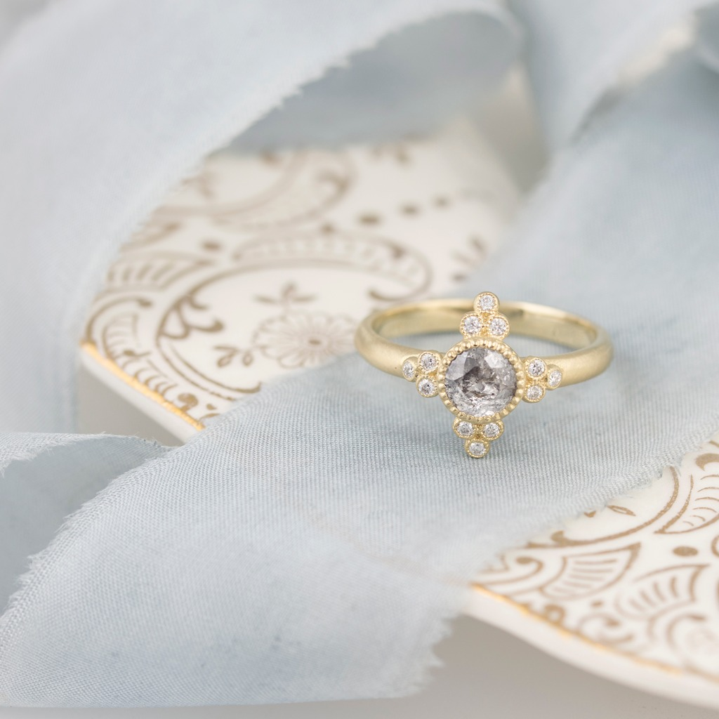 The first time I saw you my heart whispered...that's the one... Our Antoinette ring set in 18k gold with a Grey rose cut diamond