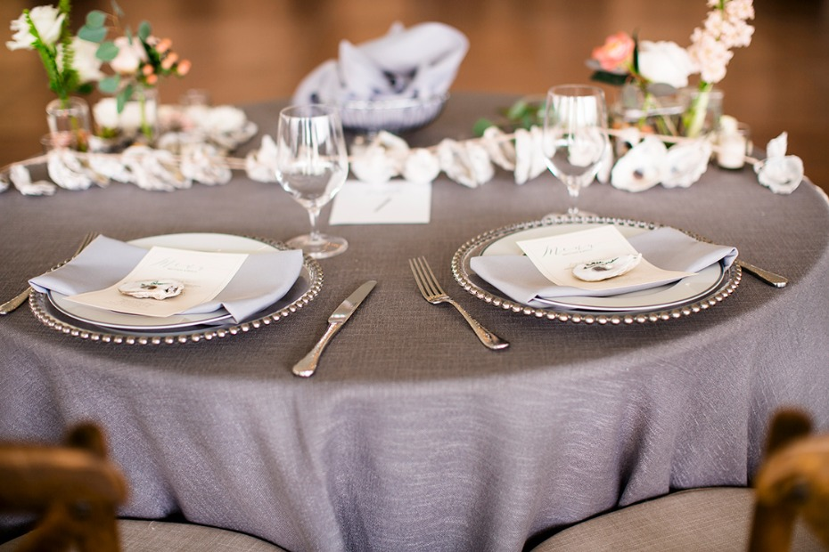 silver chic subtle beach theme sweetheart table