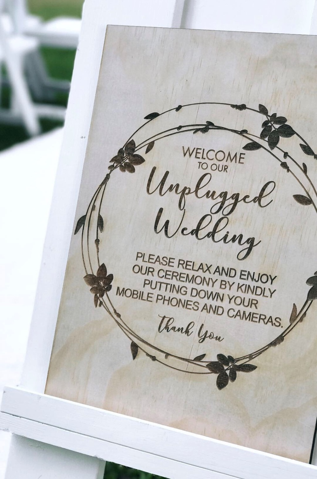 https://www.brisbaneweddingdecorators.com.au/ Unplugged wedding sign