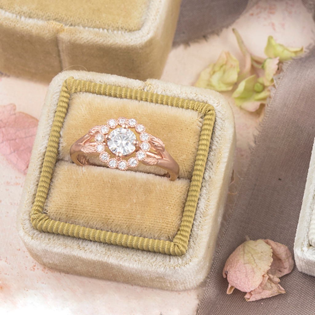 Rose gold ring goals. Our Gwendolyn ring is a vintage inspired halo with trailing leaves and a delicate bezel halo that floats around