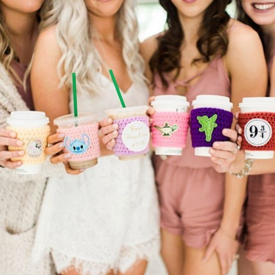 Disney bride bridesmaid coffee cozies designs by @lnrcrochetdesigns