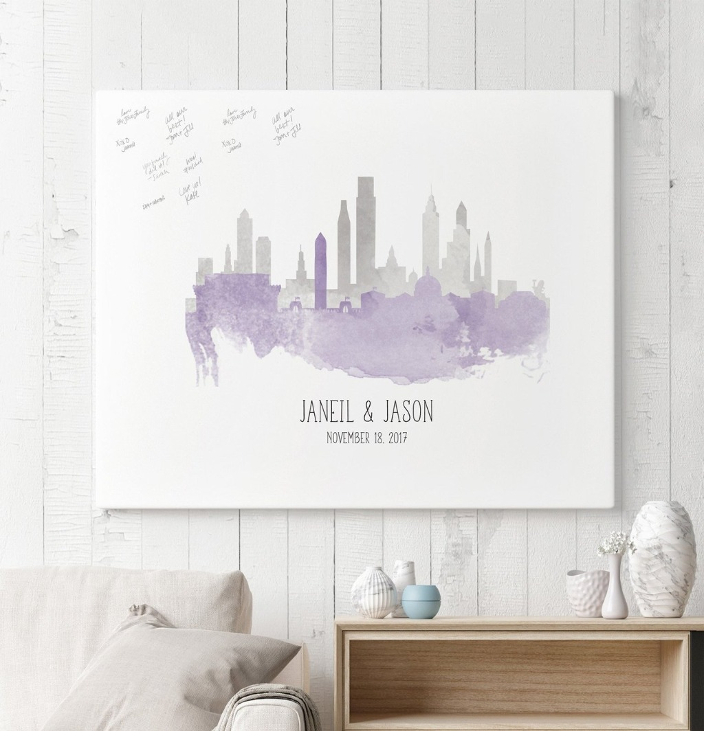 Our Watercolor Skyline Guest Book Alternative is a super meaningful and popular design!! We'll take the two skylines that mean the
