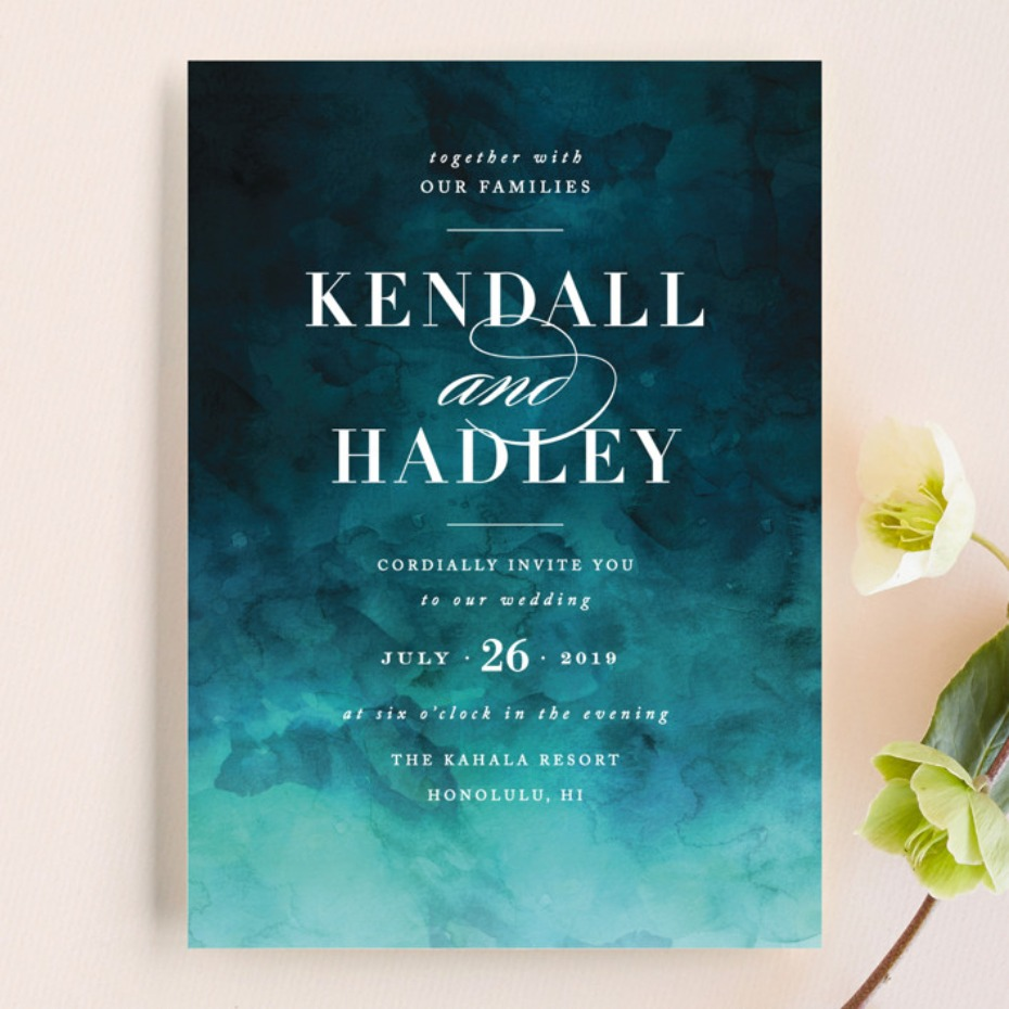 Minted Indigo Sea invitation