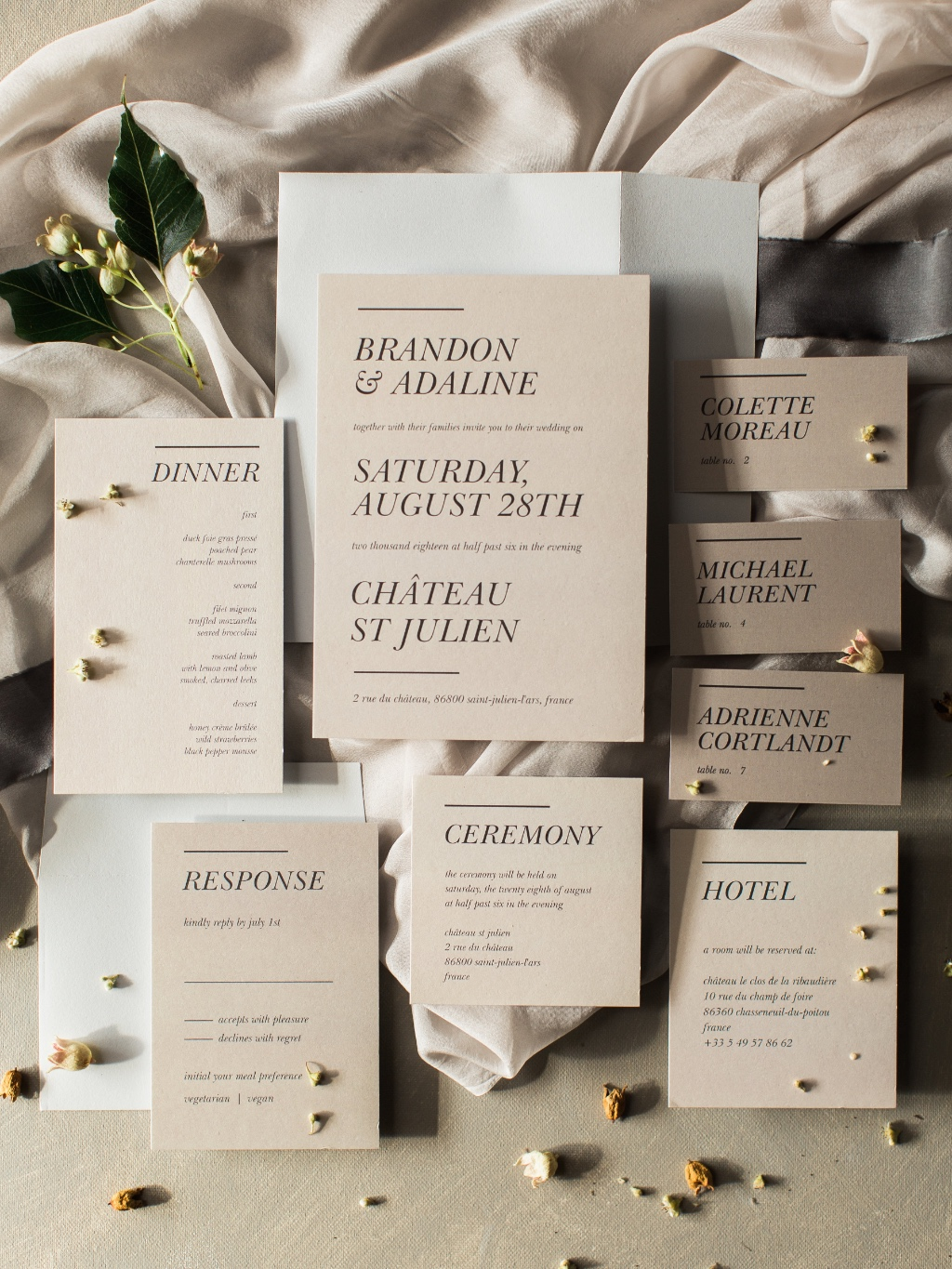 This Stacked Italic Wedding Suite has a subtle touch of modern detail for a sophisticated yet unique look.