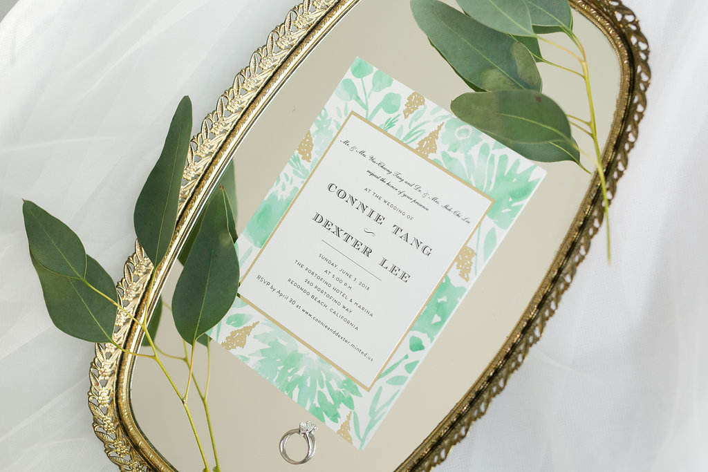 These simple and trendy invitations are the perfect style for any spring or summer wedding, and we're in love with its pop of color