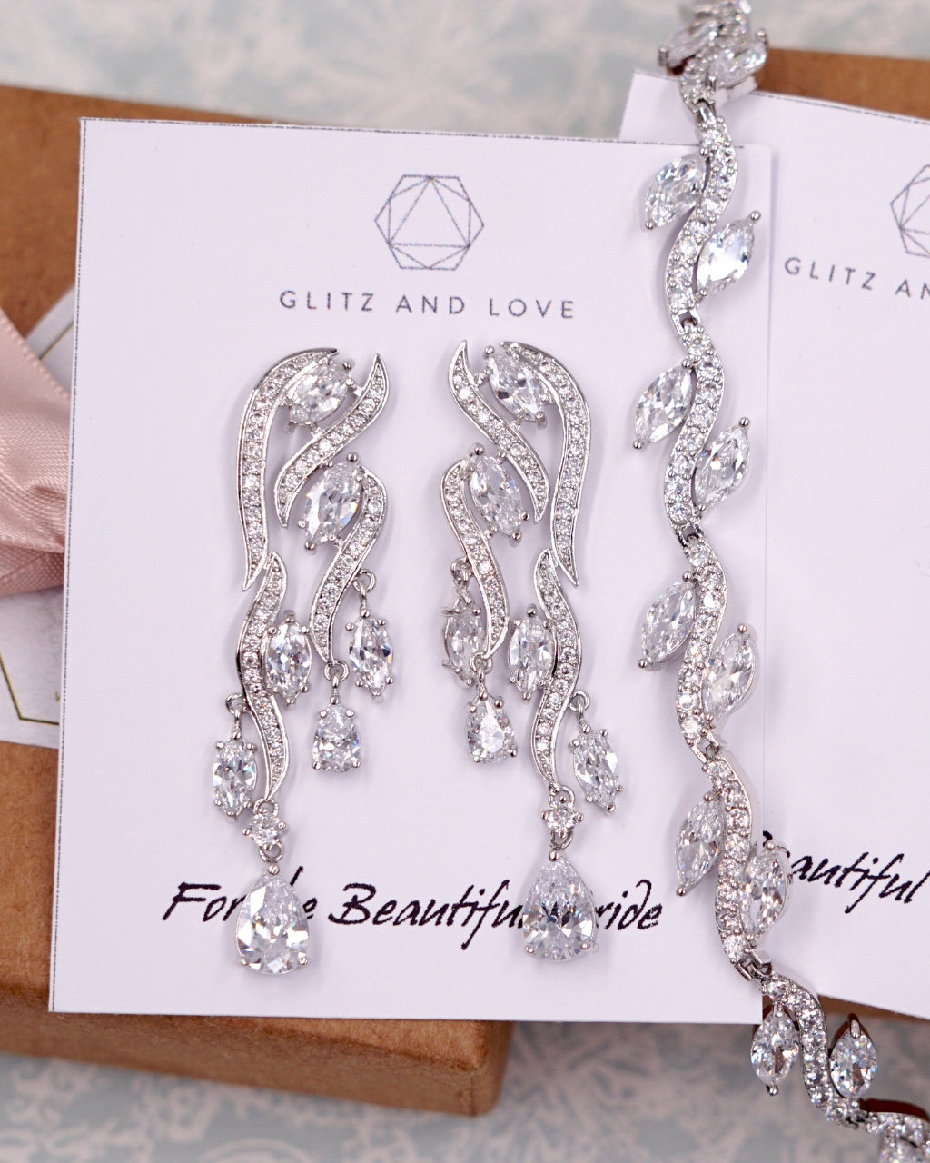 Silver Leaf Chandelier Earrings and Bracelet, Cubic zirconia, wedding jewelry set, brides, bridesmaids, bridal shower gifts, fancy