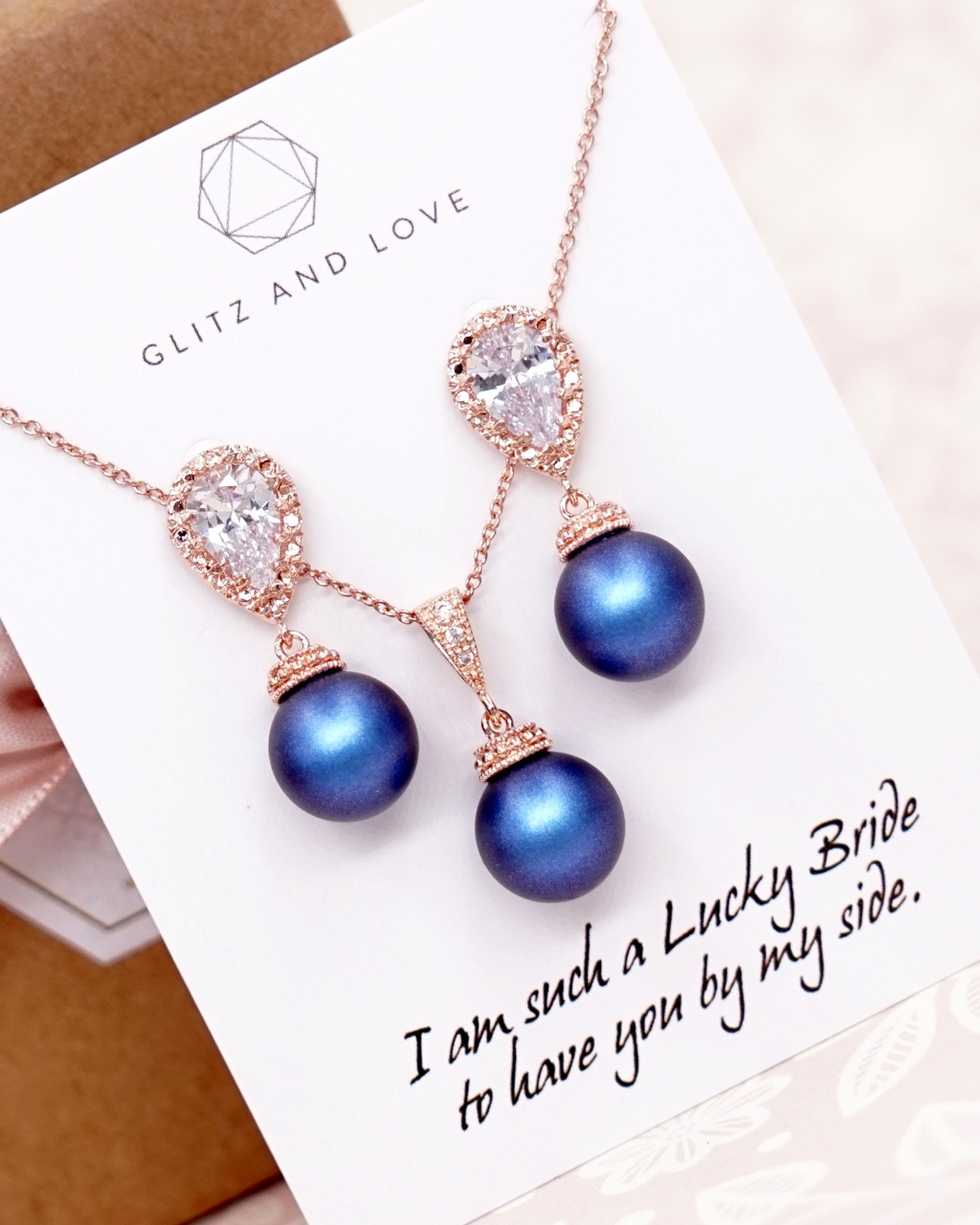 Rose Gold Navy Blue Pearl Earrings and Necklace jewellery set, wedding, brides, bridesmaids, bridal shower gifts, personalised gifts