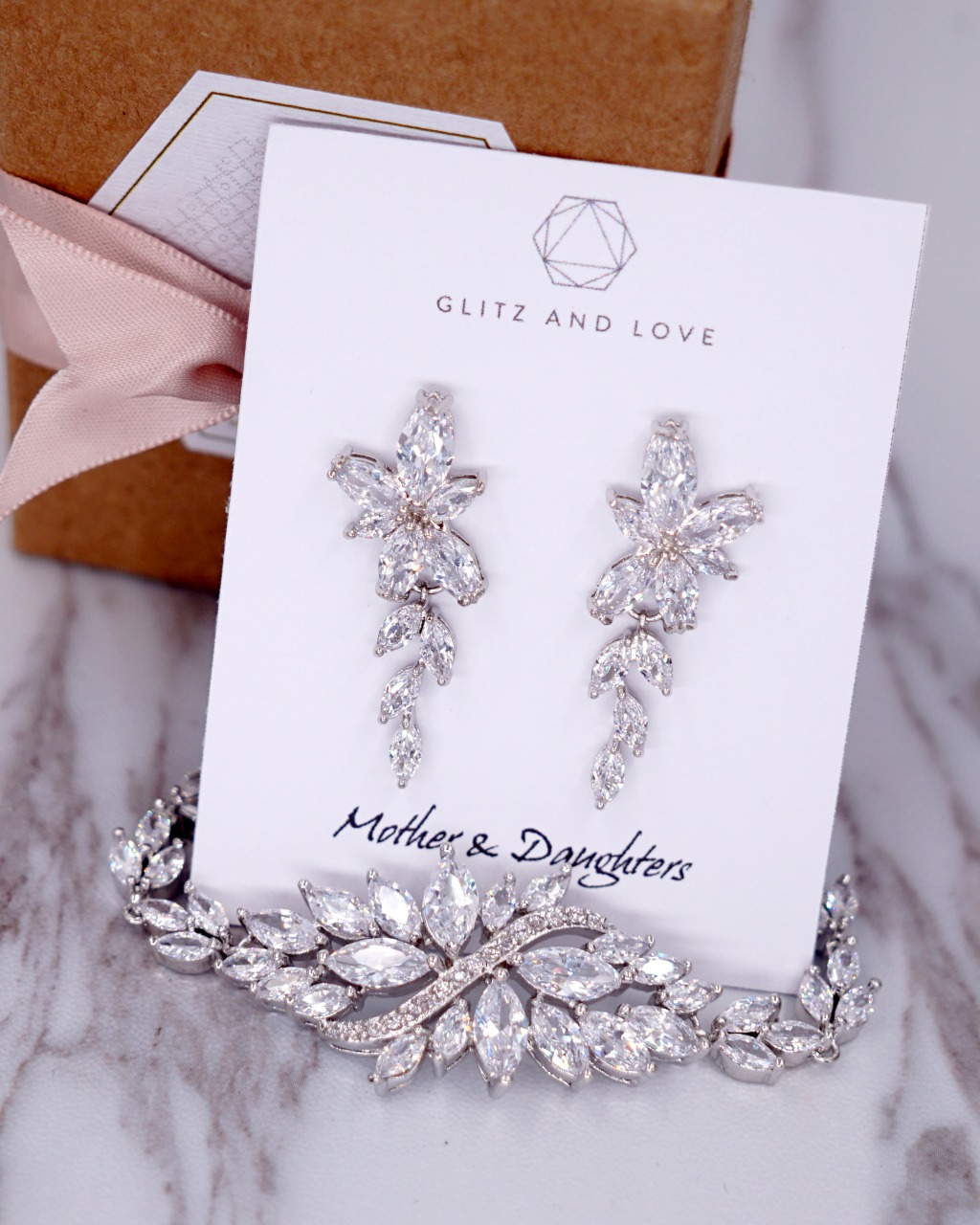 Silver Marquise CZ Jewelry Set, Earrings, Bracelet, cubic zirconia, wedding, brides, bridesmaids, bridal shower gifts, www.glitzandlove
