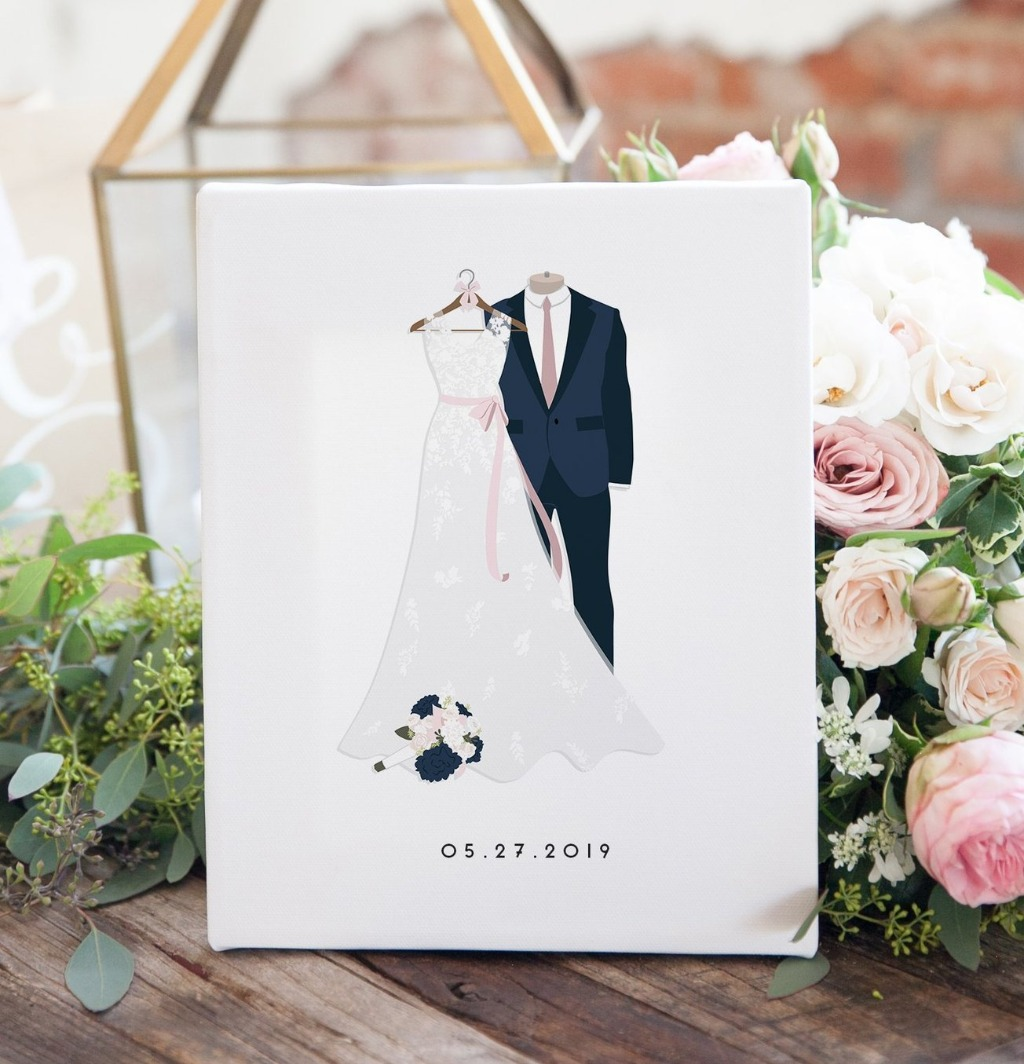 Celebrate your first anniversary the right way!! This Wedding Dress and Suit Illustration from Miss Design Berry is the perfect gift