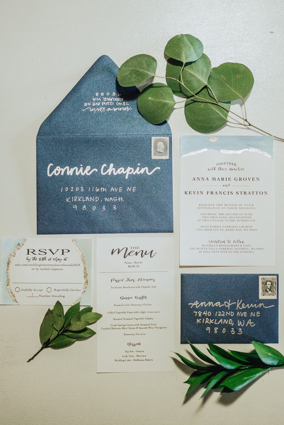 blue and silver wedding invitation suite