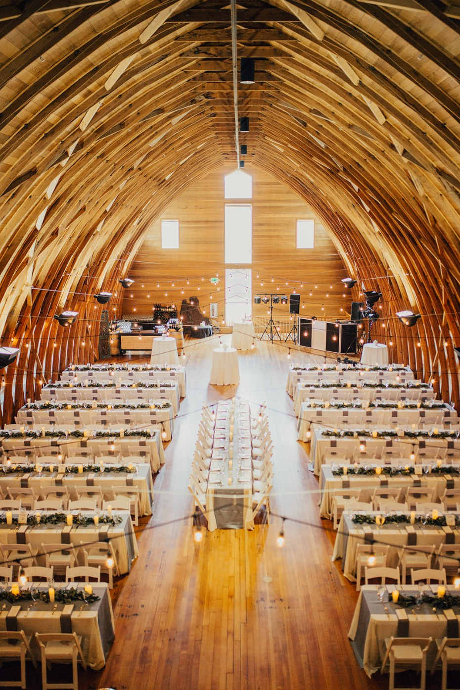 wedding reception in a barn