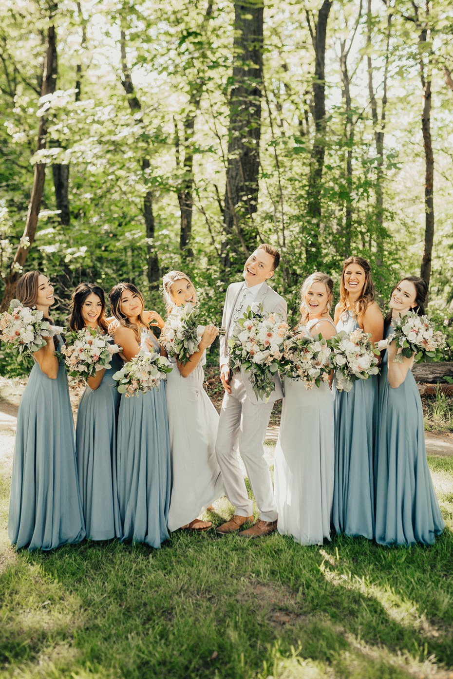 blue and light grey wedding party