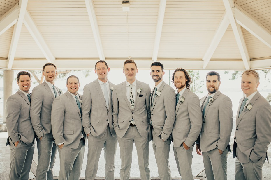 soft grey suits for the groom and his men