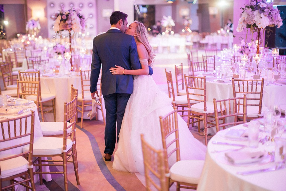 glam purple and gold wedding reception