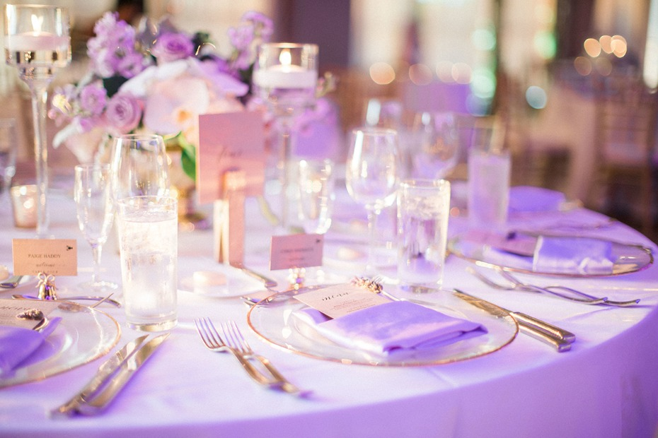 purple and gold glam wedding tables