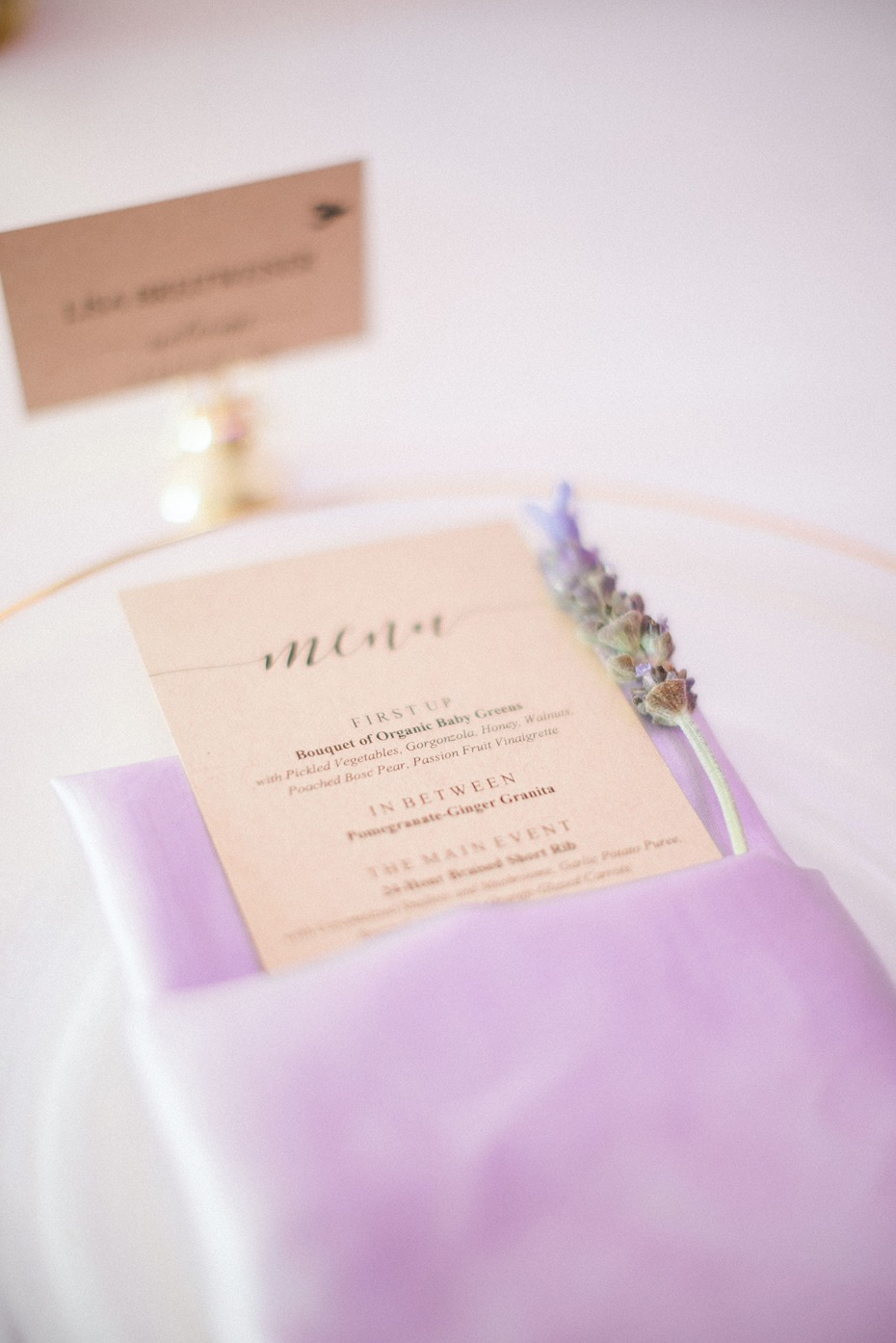 purple and gold place setting