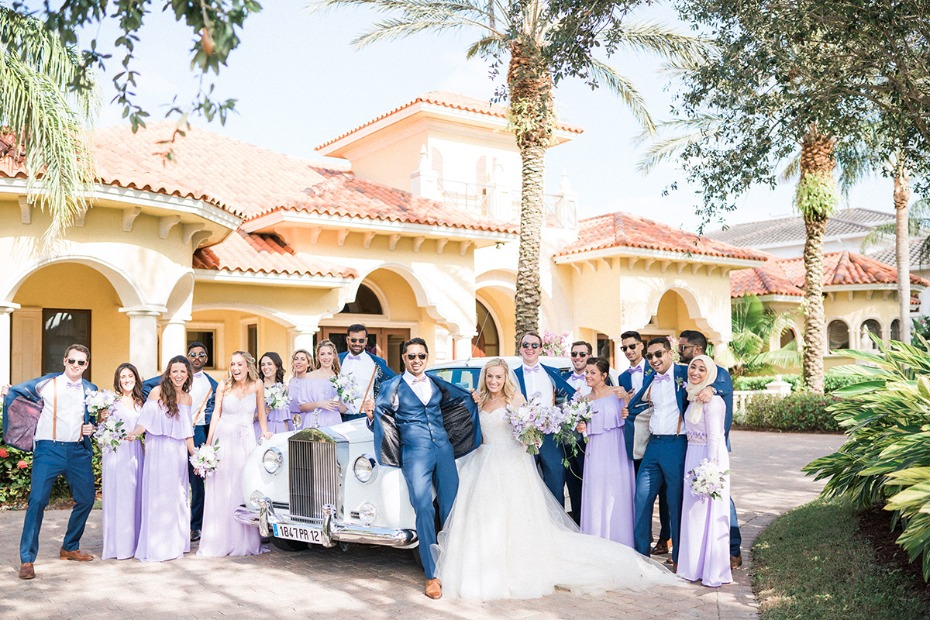 wedding party in royal blue and purple