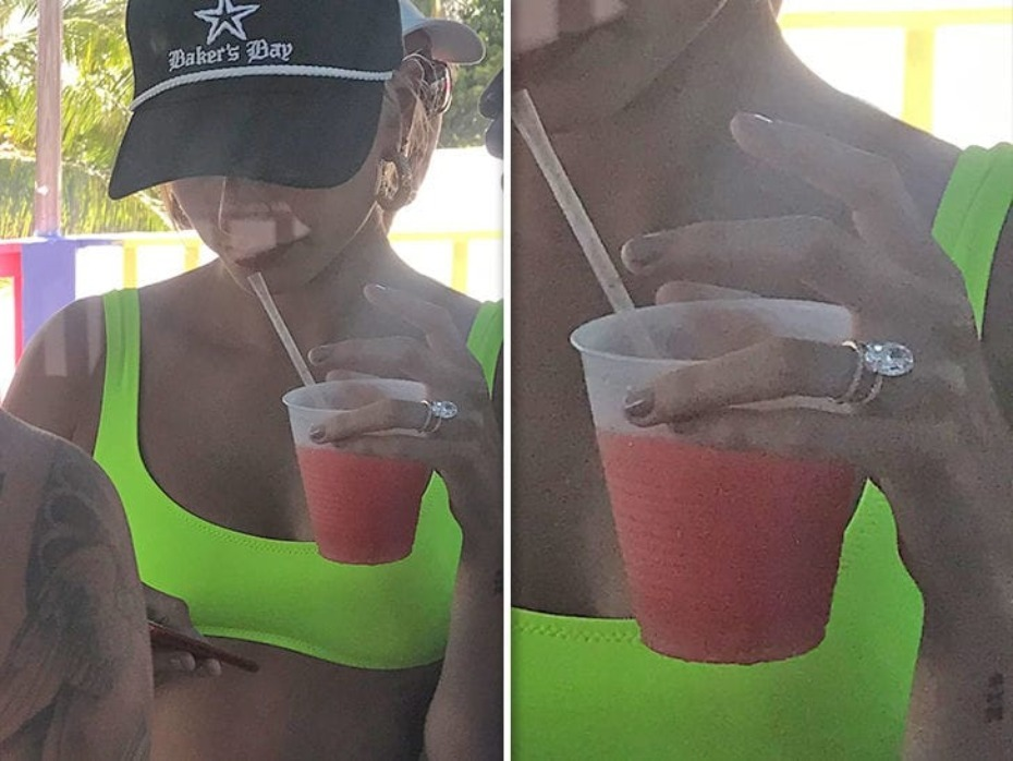 Hailey Baldwin Engagement Ring in the Bahamas