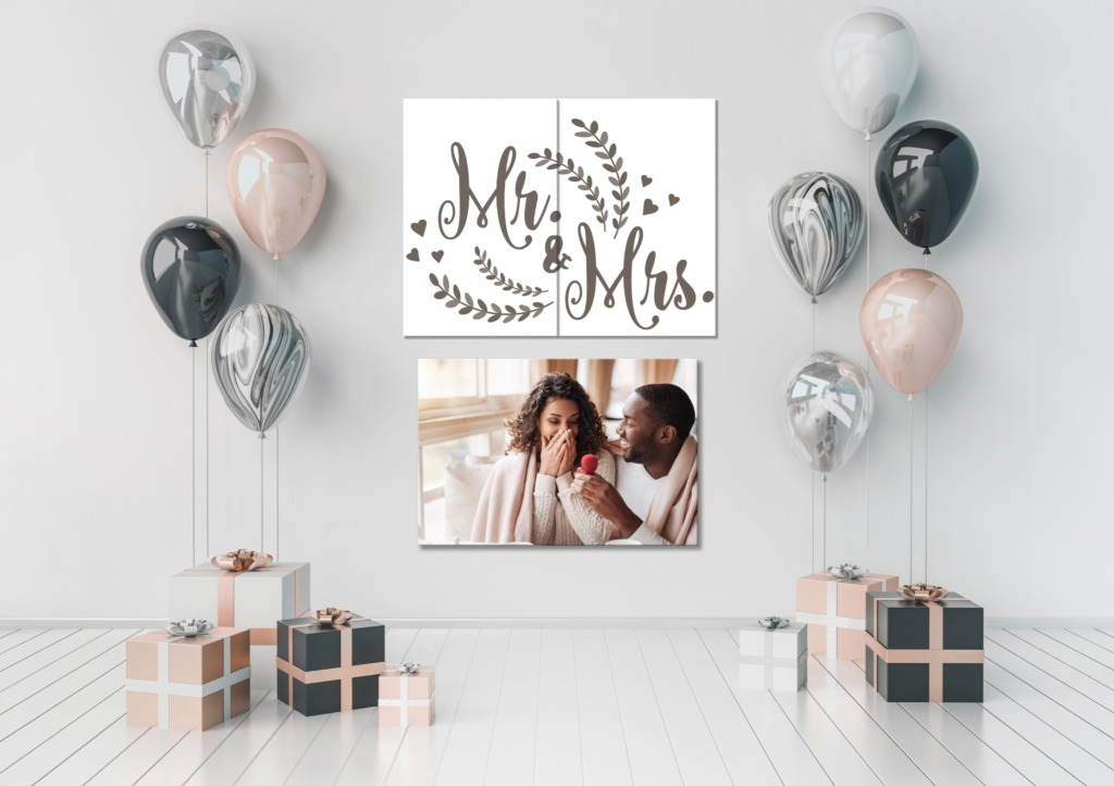 Easy prints for aesthetic engagement parties and bridal showers. Whether it be a canvas of the couple or fitting bridal decor. Don