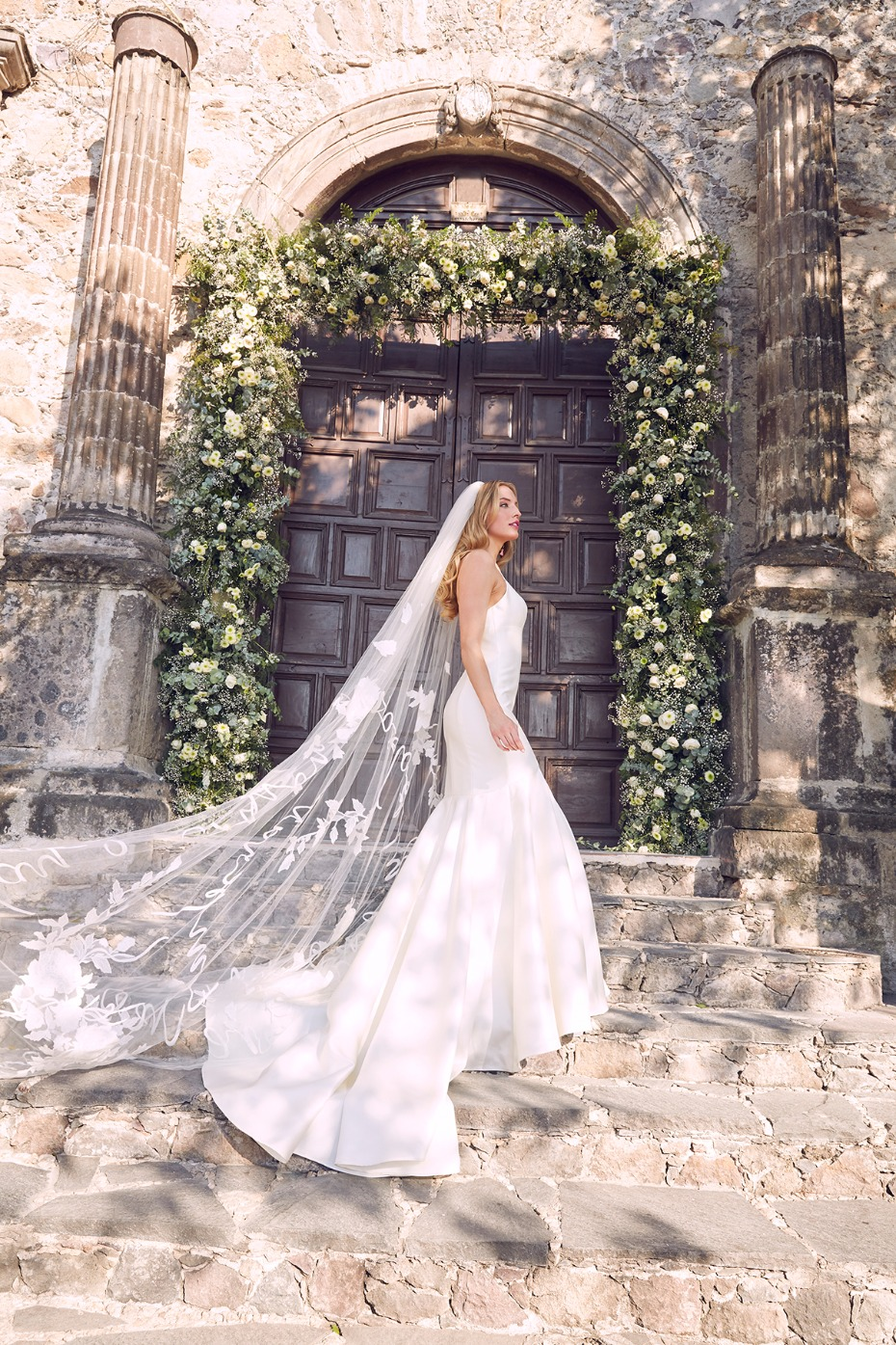 Avery wedding dress and embroidered veil