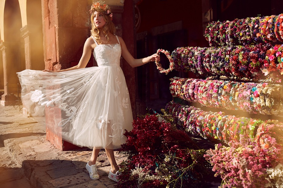 Juliet White wedding dress with embroidered skirt