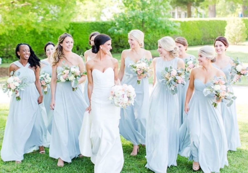 the only blues around here 🙌 stunning #realbridesmaids strutting in whisper blue! #jennyyoobridesmaids #jennyyoo