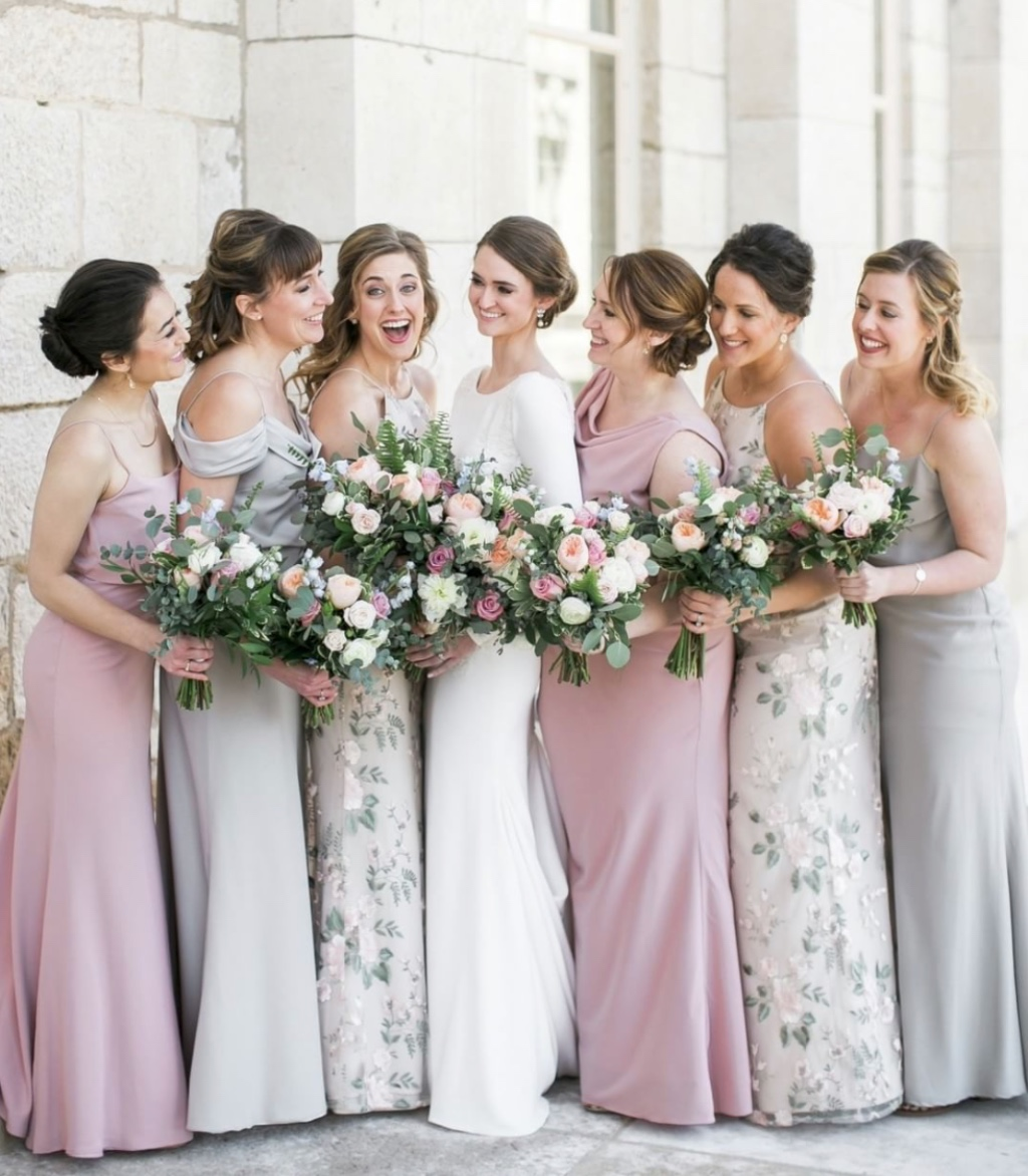 we love us a grey, blush combo 😍 featuring our blake, sabine, claire and madelyn! #jennyyoobridesmaids #jennyyoo