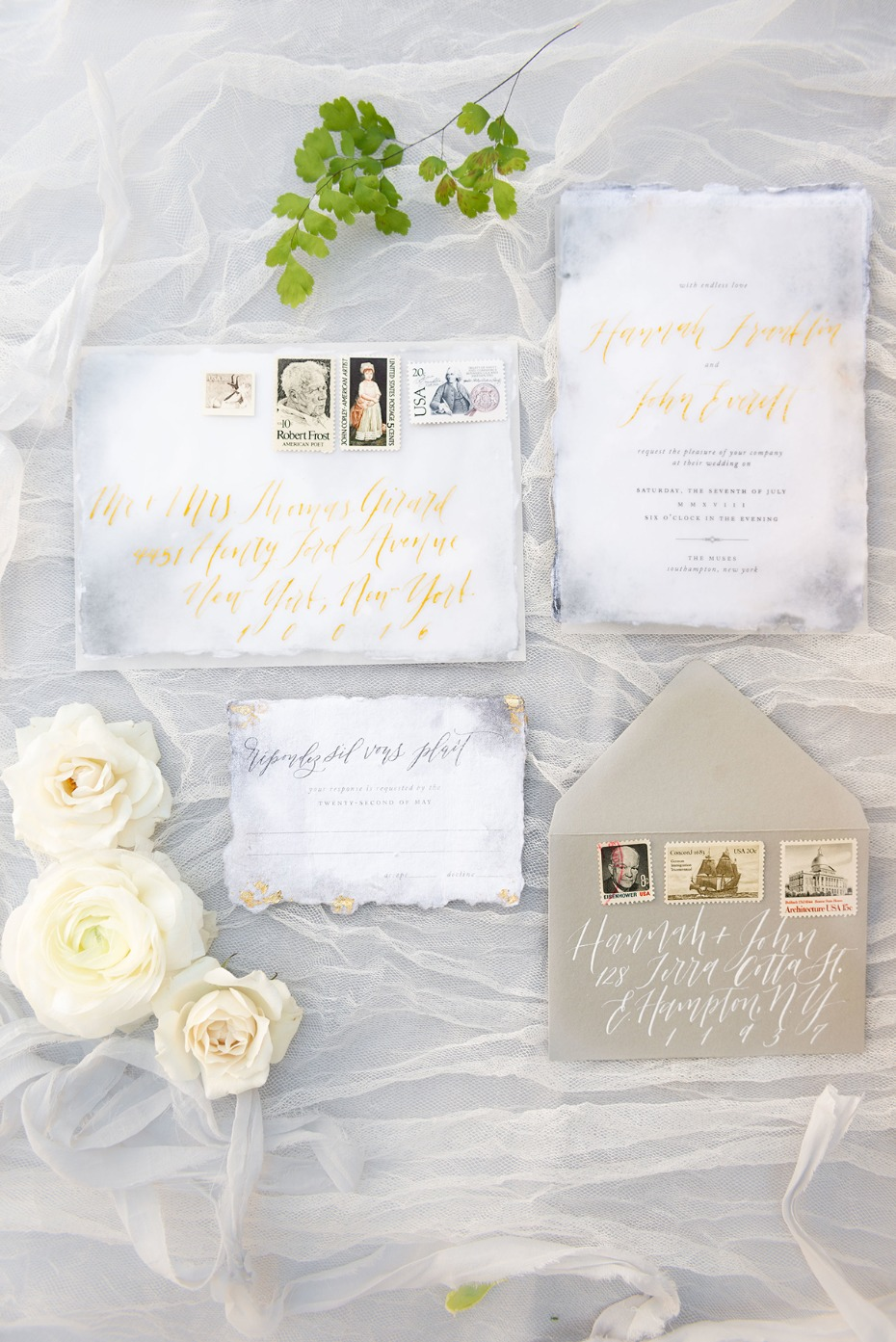gold and grey wedding invitation suite